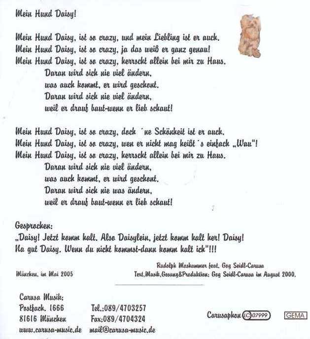 Das Lied vom Hund und Hahn - Text Noten Download